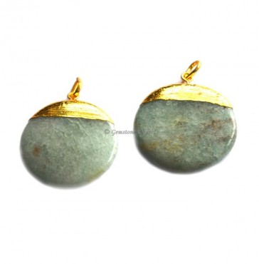 Green Jade Disc Electroplated Pendant