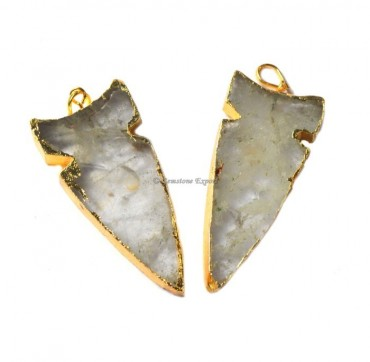 Accent Shape Crystal Quartz Electroplated Pendant