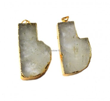 Knife Shape Crystal Quartz Electroplated Pendant