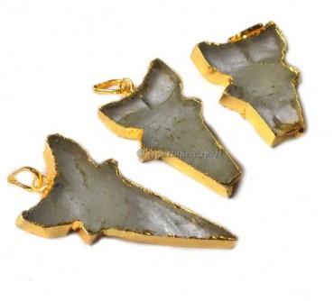Assorted Shape Quartz Stone Electroplated Pendant