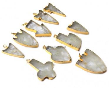 Mix Shape Crystal Quartz Electroplated Pendant