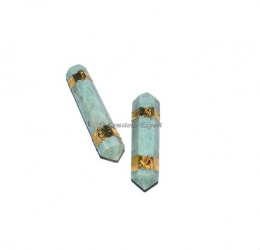 Green Aventurine Pencil Point Electroplated Pendant