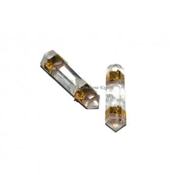 Crystal Quartz Pencil Point Electroplated Pendant