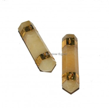 Golden Quartz Pencil Point Electroplated Pendant