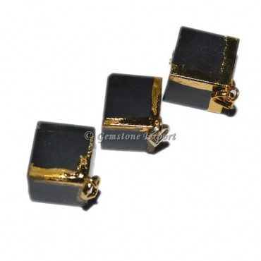 Black Jasper Cube Electro Pendants