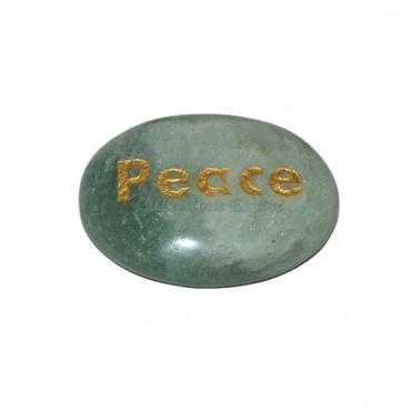 Green Aventurine Peace Engraved Stone