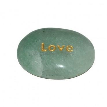 Green Aventurine Love Engraved Stone
