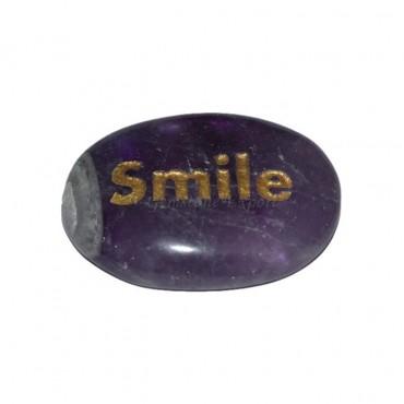 Amethyst Smile Engraved Stone