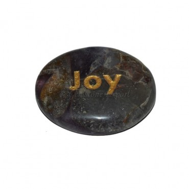 Amethyst Joy Engraved Stone