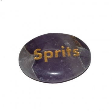 Amethyst Sprits Engraved Stone