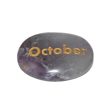 Amethyst October Engraved Stone