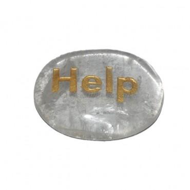Crystal Quartz Help Engraved Stone