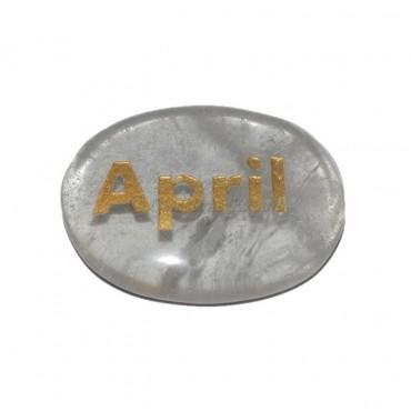 Crystal Quartz April Engraved Stone