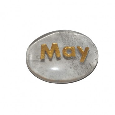 Crystal Quartz May Engraved Stone