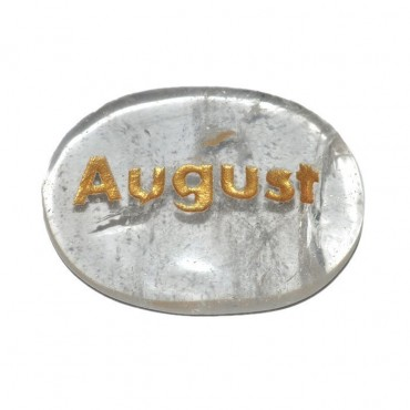Crystal Quartz August Engraved Stone