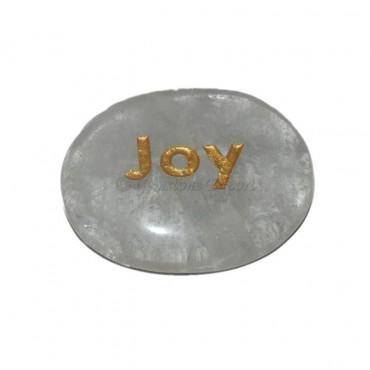 Crystal Quartz Joy Engraved Stone