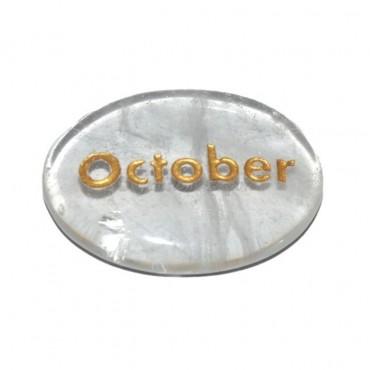 Crystal Quartz  October Engraved Stone