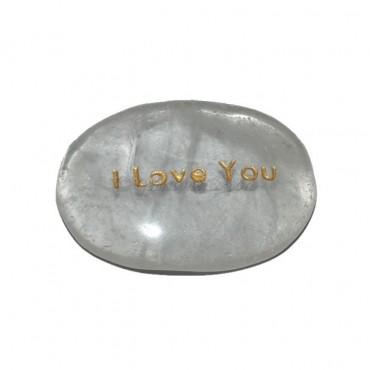 Crystal Quartz  I Love You Engraved Stone