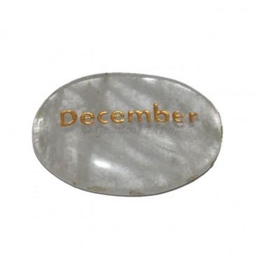 Crystal Quartz  December Engraved Stone
