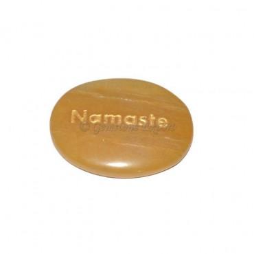Yellow Jasper Namste Engraved Stone