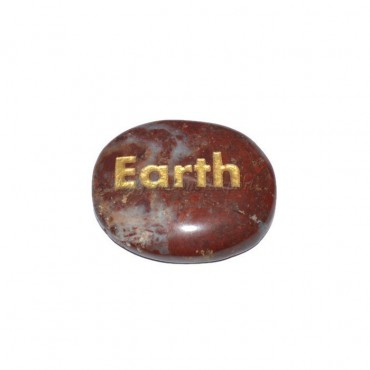 Red Jasper Earth Engraved Stone
