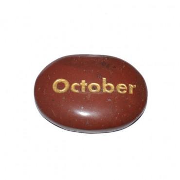 Red Jasper October Engraved Stone