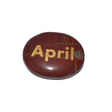 Red Jasper April Engraved Stone