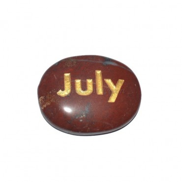 Red Jasper July Engraved Stone