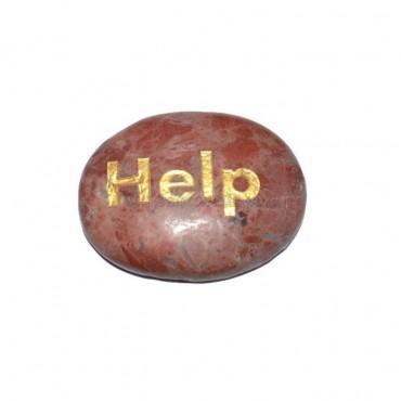 Red Jasper Help Engraved Stone
