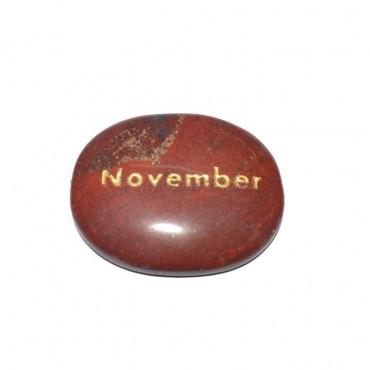 Red Jasper November Engraved Stone
