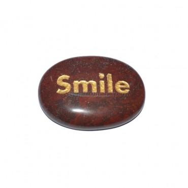 Red Jasper Smile  Engraved Stone