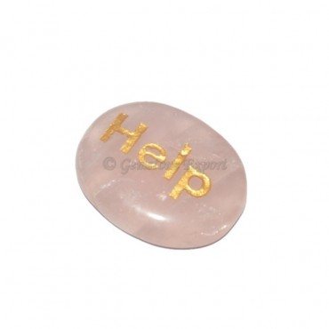 Rose Quartz Help  Engraved Stone
