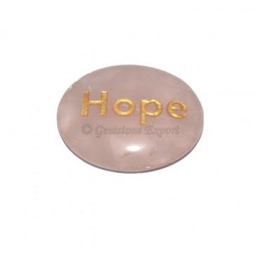 Rose Quartz Hope Engraved Stone