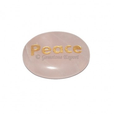 Rose Quartz Peace Engraved Stone