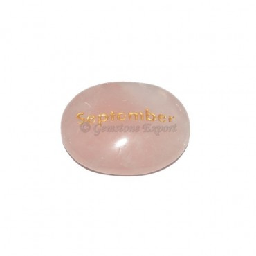 Rose Quartz September Engraved Stone