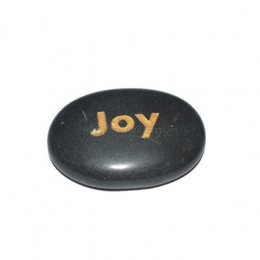 Black Agate Joy Engraved Stone