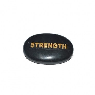 Black Agate STRENGTH Engraved Stone