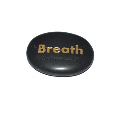 Black Agate Breath Engraved Stone