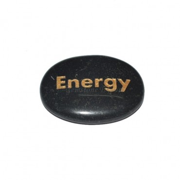 Black Agate Energy Engraved Stone