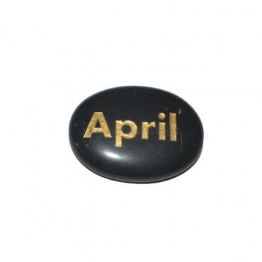 Black Agate April Engraved Stone