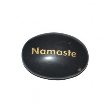 Black Agate Namste Engraved Stone
