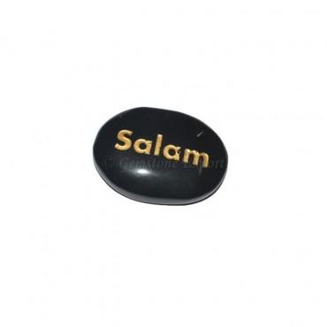 Black Agate Salam Engraved Stone