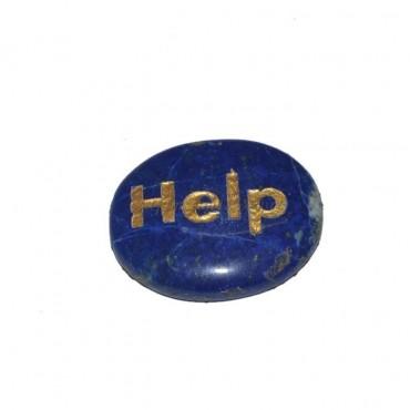 Lapis Lazuli Help Engraved Stone