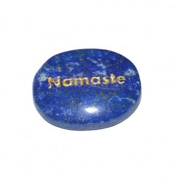 Lapis Lazuli Namste Engraved Stone