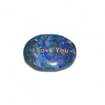 Lapis Lazuli I Love You Engraved Stone