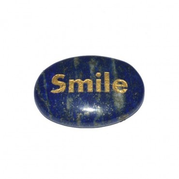 Lapis Lazuli Smile Engraved Stone