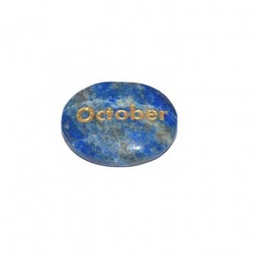 Lapis Lazuli October Engraved Stone