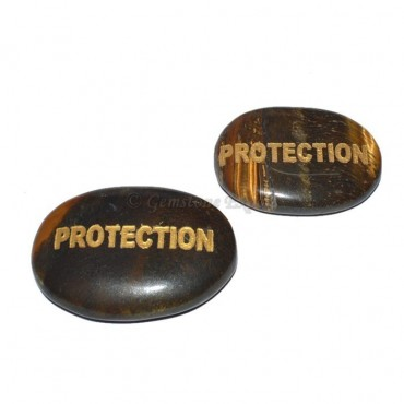 Tiger Eye PROTECTION Engraved Stone