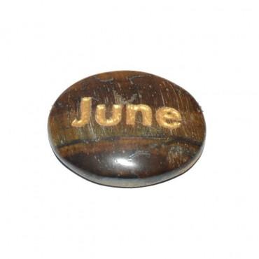 Tiger Eye June Engraved Stone