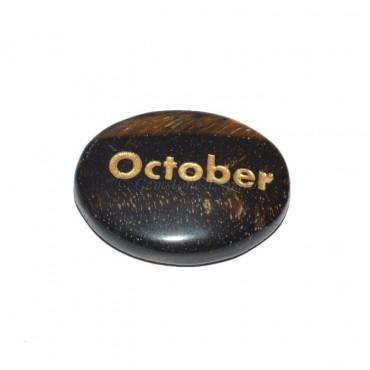 Tiger Eye October Engraved Stone